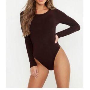 PETITE slinky brown bodysuit